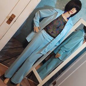 Vintage 1970s blue leisure suit Mr Beau size 16